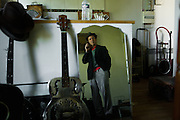 PARIS, FRANCE – SEPTEMBER 24, 2012: Blues-rock guitarist  and street performer René Miller in his apartment.