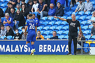 Bristol City's Manager Nigel Pearson shouts instructions to his team from the dug-out during the EFL Sky Bet Championship match between Cardiff City and Bristol City at the Cardiff City Stadium, Cardiff, Wales on 28 August 2021.