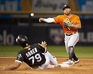 CHICAGO - AUGUST 13:  Jose Altuve #27 of the Houston Astros turns a double play during the second game of a double header against the Chicago White Sox on August 13, 2019 at Guaranteed Rate Field in Chicago, Illinois.  (Photo by Ron Vesely/MLB Photos via Getty Images)  *** Local Caption *** Jose Altuve