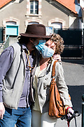 couple kissing with face mask during the Covid 19 crisis and lockdown France Limoux April 2020