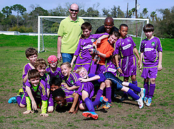 15 March 2015. New Orleans, Louisiana.<br /> U9 New Orleans Jesters Elites, Purple team following games against Gonzales where they won 5-0 in the first and 6-2 in their second game. <br /> Photo; Charlie Varley/varleypix.com
