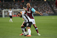 Junior Morais, of Astra Giurgiu captain blocks the ball from Gokhan Tore of West Ham United. UEFA Europa league, 1st play off round match, 2nd leg, West Ham Utd v Astra Giurgiu at the London Stadium, Queen Elizabeth Olympic Park in London on Thursday 25th August 2016.<br /> pic by John Patrick Fletcher, Andrew Orchard sports photography.