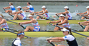Chungju, South Korea.  GBR W8+. Bow. Beth RODFORD, Melanie WILSON, Caragh MCMURTY, Louisa REEVE, Jessica EDDIE, Zoe LEE, Katie GREVES, Oliva CARNEGIE-BROWN and cox Zoe DE TOLEDO, at the start. 2013 World Rowing Championships, Tangeum Lake, International Regatta Course. 11:38:02  Wednesday  28/08/2013 [Mandatory Credit. Peter Spurrier/Intersport Images]