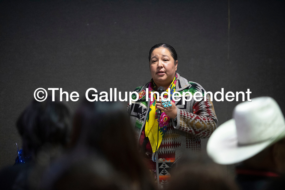 Council Delegate Amber Kanazbah Crotty speaks to  attendees at the New Mexico Indigenous Women's  Resource Council launch celebration at Rio West Mall in Gallup Saturday.