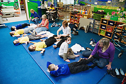 Exercise class in a special school for children with physical disabilities,