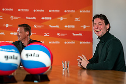 Presenter Etienne Verhoeff, Tom van Kuyk (sponsor strategist Rabobank) during the talk show of the Dutch volleyball association. The association wants to start a professionalization process with which they want to strengthen recreational sport in the coming years on March 8, 2021 in Utrecht