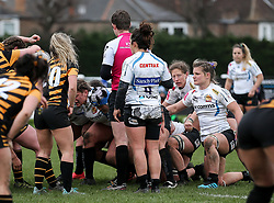Patricia Garcia of Exeter Chiefs ; CENTRAX, Sandy Park, VPC, Jurrassic Kitchens and GX Accountancy branding - Mandatory by-line: Arron Gent/JMP - 06/03/2021 - RUGBY - Twyford Avenue - Acton, England - Wasps FC Ladies v Exeter Chiefs Women - Allianz Premier 15s