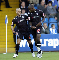 Photo: Olly Greenwood.<br />Colchester United v West Bromwich Albion. Coca Cola Championship. 20/10/2007. West Brom's Kevin Phillips celebrates scoring with Ishmael Miller