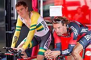 Winner Rohan Dennis and Daniel Oss of the time trail <br />  during the Eneco Tour 2016 at  at Breda, Breda, Holland on 20 September 2016. Photo by Gino Outheusden.<br /> <br /> Winner Rohan Dennis of the time trail at the Eneco Tour