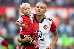 Sven van Beek of Feyenoord with his nephew during the Pre-season Friendly match between Feyenoord Rotterdam and Levante UD at the Kuip on July 29, 2018 in Rotterdam, The Netherlands