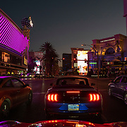 Visitors drive on the Las Vegas Strip in Las Vegas, Nevada on Thursday, October 15, 2020. (Alex Menendez via AP)