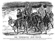 "The ""Withdrawal"" from Moscow. Chorus of half-revolutionists support Messrs Snowden and Ramsay Macdonald by singing ""The red (but not too red) flag."" [The Independent Labour Party by a large majority has voted in favour of withdrawing from the Moscow Internationale.] (Ramsay Macdonald carries the Independent Labour Party flag while his supporters hold No Compulsory Labour and Why Should A Man Be Made To Work as they retreat from Bolshevism in the InterWar era)"