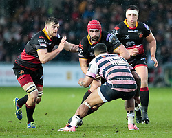 Dragons' Cory Hill lines up Cardiff Blues' Rey Lee-Lo<br /> <br /> Photographer Simon King/Replay Images<br /> <br /> Guinness Pro14 Round 11 - Dragons v Cardiff Blues - Tuesday 26th December 2017 - Rodney Parade - Newport<br /> <br /> World Copyright © 2017 Replay Images. All rights reserved. info@replayimages.co.uk - www.replayimages.co.uk
