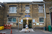 The main entrance to  HM Prison Brixton, a local men's prison located in Brixton in the borough of Lambeth in South London on the 26th of July 2016, London United Kingdom. The prison originally opened as the Surrey House of Correction in 1820 and now has a capacity of 800 men living across 5 different wings. A, B, C, D and G, G wing houses vulnerable men. (photo by Andy Aitchison)