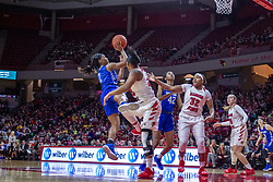 NORMAL, IL - December 20: Ciaja Harrison offers a sailing jump shot defended by Viria Livingston during a college women's basketball game between the ISU Redbirds and the St. Louis Billikens on December 20 2018 at Redbird Arena in Normal, IL. (Photo by Alan Look)