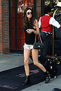 Sept. 10, 2014 - New York, New York, U.S. - <br /> <br /> Model Nicole Trunfio Out In New York<br /> <br /> Model NICOLE TRUNFIO wears tiny cutoff denim shorts, black short boots and black tank top as she leaves a downtown hotel.<br /> ©Exclusivepix
