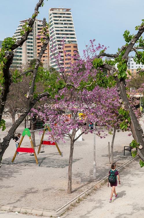 Espagne, Valence, jardin dans lit du fleuve Turia // Spain, Valencia, garden of Turia old river