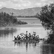 Rohingyas who fled Myanmar are arriving in Bangladesh through the Naf River on a makeshift raft near Noya Para - Teknaf - Bangladesh on 11th november 2017.<br /> Des Rohingyas ayant fui le Myanmar arrivent au Bangladesh par la rivière Naf sur un radeau de fortune près de Noya Para - Teknaf - Bangladesh le 11 novembre 2017.
