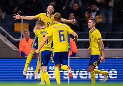 November 20, 2018 - Stockholm, SWEDEN - 181120 Marcus Berg, Sebastian Larsson, Ludwig Augustinsson and Mikael Lustig celebrates after the 2-0 goal during the Nations League football match between Sweden and Russia on November 20, 2018 in Stockholm..Photo: Joel Marklund / BILDBYRN / kod JM / 87811 (Credit Image: © Joel Marklund/Bildbyran via ZUMA Press)