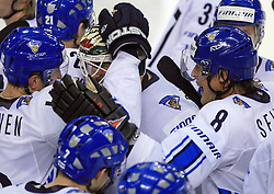 Team Finland  celebrates the last gold goal at play-off round quarterfinals ice-hockey game USA  vs Finland at IIHF WC 2008 in Halifax,  on May 14, 2008 in Metro Center, Halifax, Nova Scotia,Canada. Win of Finland 3 : 2. (Photo by Vid Ponikvar / Sportal Images)