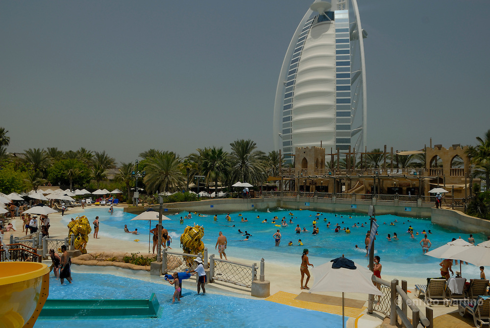 Jumeira, Wild Wadi waterpark. Locals and expatrietes love the dozens of interconnected rides and pools based on the legend of Arabian sailor, Sinbad the sailor.
