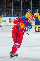 KELOWNA, BC - DECEMBER 18:  Anton Malyshev #27 of Team Russia takes a shot during warm up against the Team Sweden at Prospera Place on December 18, 2018 in Kelowna, Canada. (Photo by Marissa Baecker/Getty Images)***Local Caption***