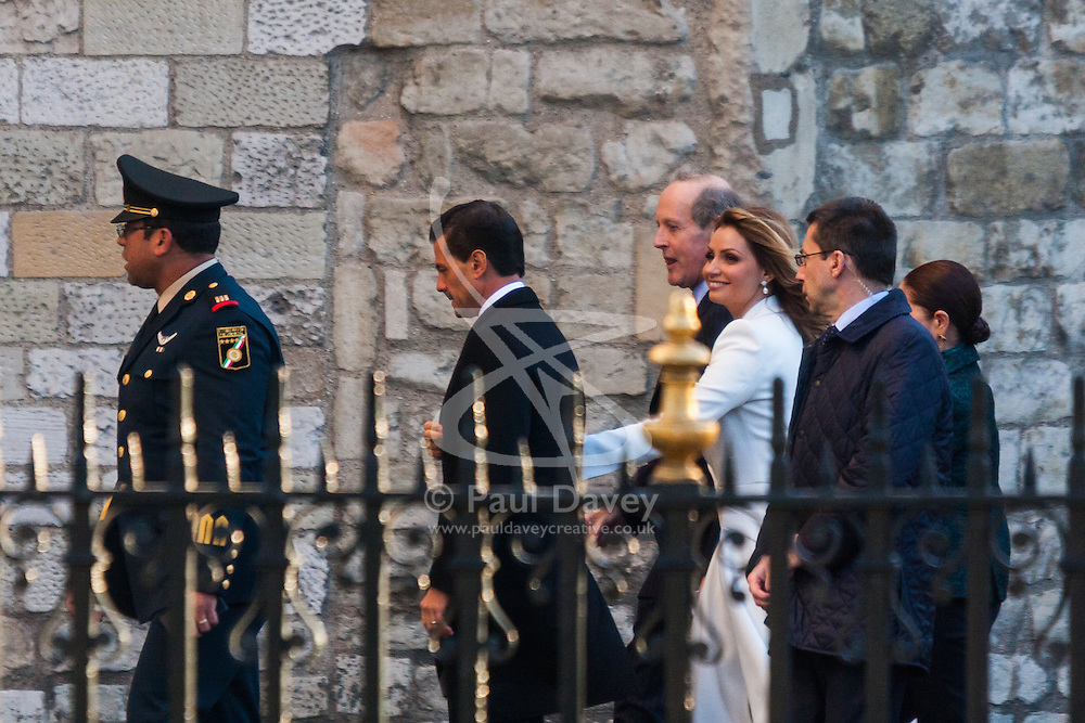 Westminster Abbey, London, March 3rd 2015. Mexican President Enrique Pano Nieto on a state visit to the United Kingdom, arrives at Westminster Abbey with his soap opera actress wife Angelica Rivera to lay a wreath at the Tomb of the Unknown Soldier.