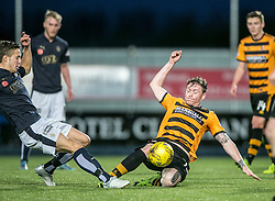 Falkirk's Will Vaulks and Alloa Athletic's Michael Doyle. <br /> Falkirk 5 v 0 Alloa Athletic, Scottish Championship game played at The Falkirk Stadium.