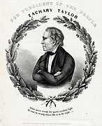 For President of the People 1846. Print shows a campaign banner for Whig presidential candidate Zachary Taylor. James L. Rogers