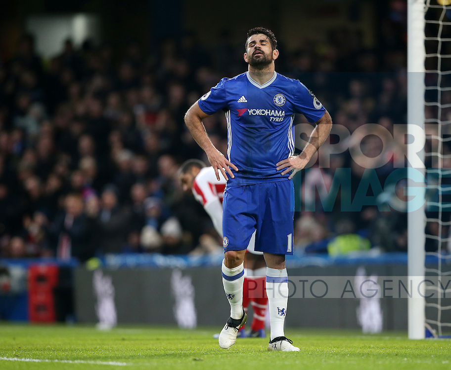 Chelsea's Diego Costa looks on dejected after a missed chance during the Premier League match at Stamford Bridge Stadium, London. Picture date December 31st, 2016 Pic David Klein/Sportimage