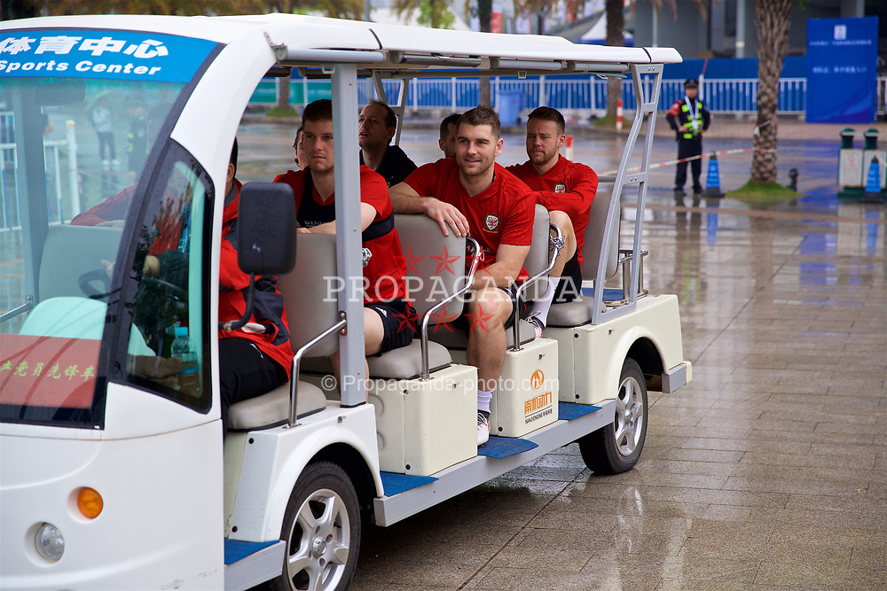 NANNING, CHINA - Saturday, March 24, 2018: Wales' Sam Vokes arrives for a training session at the Guangxi Sports Centre ahead of the 2018 Gree China Cup International Football Championship final match against Uruguay. (Pic by David Rawcliffe/Propaganda)