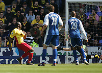 Photo: Lee Earle.<br /> Reading v Watford. The Barclays Premiership. 05/05/2007.Watford's Danny Shittu (L) scores the opening goal.