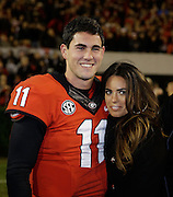 ATHENS, GA - NOVEMBER 23:  Quarterback Aaron Murray #11 of the Georgia Bulldogs poses with girlfriend Kacie McDonnell during Senior Day festivities before the game against the Kentucky Wildcats at Sanford Stadium on November 23, 2013 in Athens, Georgia.  (Photo by Mike Zarrilli/Getty Images)