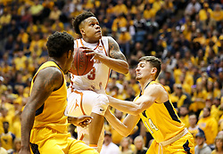 Jan 20, 2018; Morgantown, WV, USA; Texas Longhorns guard Jacob Young (3) drives down the lane during the first half against the West Virginia Mountaineers at WVU Coliseum. Mandatory Credit: Ben Queen-USA TODAY Sports