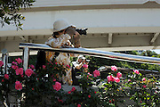 flower garden with woman and man making pictures Japan
