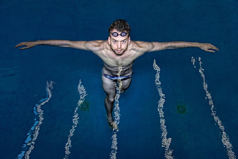 Netherlands. Amsterdam, 31-07-2014. Photo: Patrick Post.  Portrait of Dutch swimmer, Sebastiaan Verschuren.