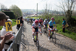 Lisa Klein (GER) and Cecilie Uttrup Ludwig (DEN) of Cervélo-Bigla Cycling Team lead the peloton onto the Eikenberg during the Ronde Van Vlaanderen - a 153.2 km road race, starting and finishing in Oudenaarde on April 2, 2017, in East Flanders, Belgium.