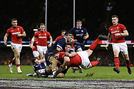 Wyn Jones of Wales forces over for a try in 2nd half but it is disallowed after the ref goes to the TMO. Wales v Scotland, NatWest 6 nations 2018 championship match at the Principality Stadium in Cardiff , South Wales on Saturday 3rd February 2018.<br /> pic by Andrew Orchard, Andrew Orchard sports photography