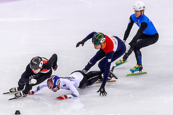 22-02-2018 KOR: Olympic Games day 13, PyeongChang<br /> Short Track Speedskating / Hyojun Lim of Korea, Dylan Hoogerwerf of the Netherlands