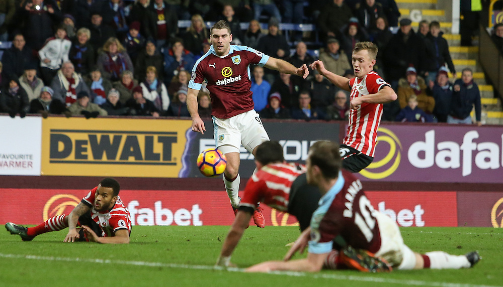 Burnley's Sam Vokes sees his shot blocked in the closing stages of the game<br /> <br /> Photographer Alex Dodd/CameraSport<br /> <br /> The Premier League - Burnley v Southampton - Saturday 14th January 2017 - Turf Moor - Burnley<br /> <br /> World Copyright © 2017 CameraSport. All rights reserved. 43 Linden Ave. Countesthorpe. Leicester. England. LE8 5PG - Tel: +44 (0) 116 277 4147 - admin@camerasport.com - www.camerasport.com