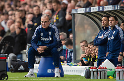 LEEDS, ENGLAND - Sunday, September 12, 2021: Leeds United's manager Marcelo Bielsa sits on a blue bucket during the FA Premier League match between Leeds United FC and Liverpool FC at Elland Road. Liverpool won 3-0. (Pic by David Rawcliffe/Propaganda)
