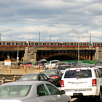 Red Line over the Long Fellow Bridge, In Front of traffic on Memorial Drive