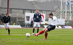 Falkirk's Mark Millar misses their penalty.<br /> Dundee 0 v 1 Falkirk, Scottish Championship game played today at Dundee's Dens Park.<br /> © Michael Schofield.
