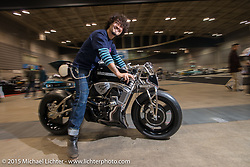 Kaichiroh Kross Kurosu of Cherry's Company Tokyo having fun on his Street 750 Build-Off bike at the close of the Mooneyes Yokohama Hot Rod & Custom Show. Yokohama, Japan. December 6, 2015.  Photography ©2015 Michael Lichter.