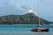 Catamaran at anchor near Diamond Head, Waikiki, Honolulu, HI