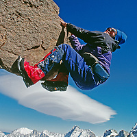 A climber ascends Mount Gayley above the Palisade Glacier.