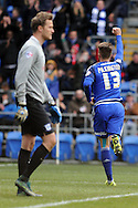 Cardiff City's Anthony Pilkington (13) celebrates after scoring his teams 1st goal from a  penalty past Preston goalkeeper Anders Lindegaard (l). Skybet football league championship match, Cardiff city v Preston NE at the Cardiff city stadium in Cardiff, South Wales on Saturday 27th Feb 2016.<br /> pic by Carl Robertson, Andrew Orchard sports photography.