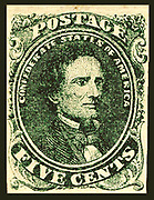 Confederate postage stamp, 5 cent green depicts Jefferson Davis printed in Green