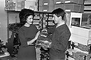 19/09/1962<br /> 09/19/1962<br /> 19 September 1962<br /> Miss Ireland, Muriel O'Hanlon, visits Glen Abbey Textiles, Tallaght, Dublin.
