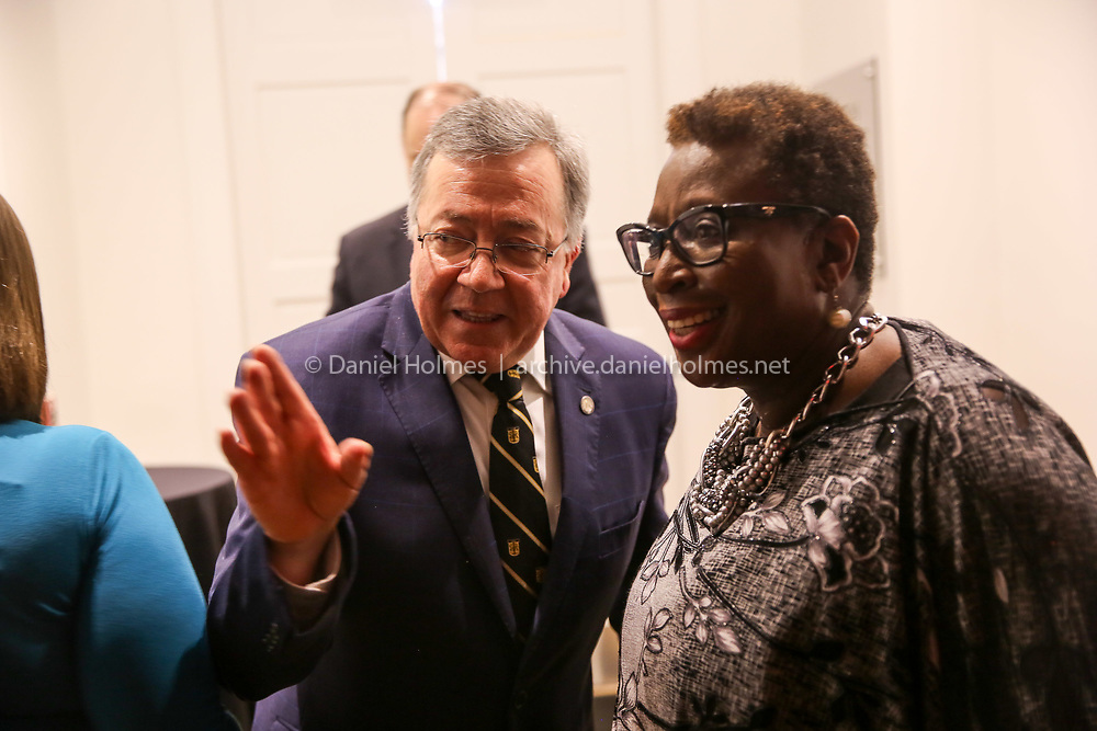 (4/13/19, FRAMINGHAM, MA) Framingham State president Javier Cevallos and Mayor Yvonne Spicer speak during at grand opening of the new Danforth at Framingham State University on Saturday. [Daily News and Wicked Local Photo/Dan Holmes]